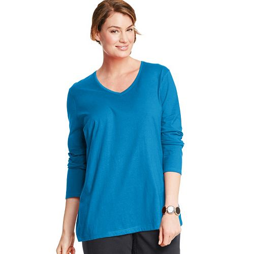 Plus Size Just My Size Long Sleeve V-Neck Tee
