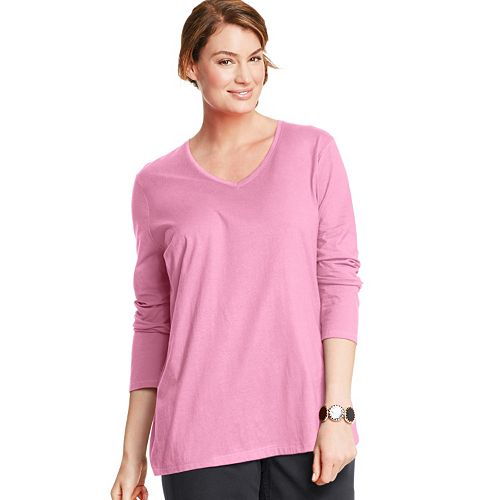 87c9b89c3671cc Plus Size Just My Size Long Sleeve V-Neck Tee