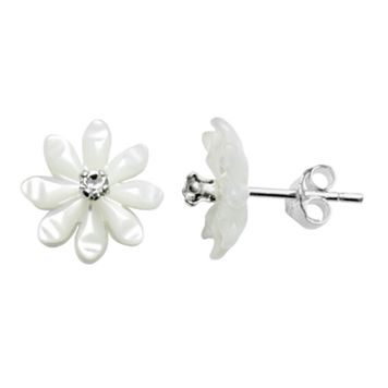 Itsy Bitsy Sterling Silver Mother-of-Pearl & Crystal Flower Stud Earrings