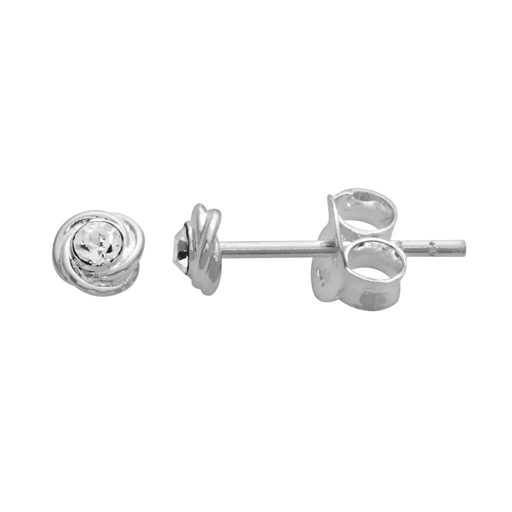 Itsy Bitsy Sterling Silver Crystal Love Knot Stud Earrings