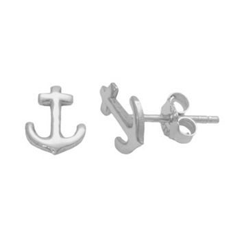 Itsy Bitsy Sterling Silver Anchor Stud Earrings