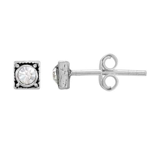 Itsy Bitsy Sterling Silver Crystal Square Stud Earrings