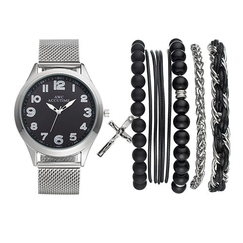 Accutime Men's Mesh Watch & Cross Bracelet Set