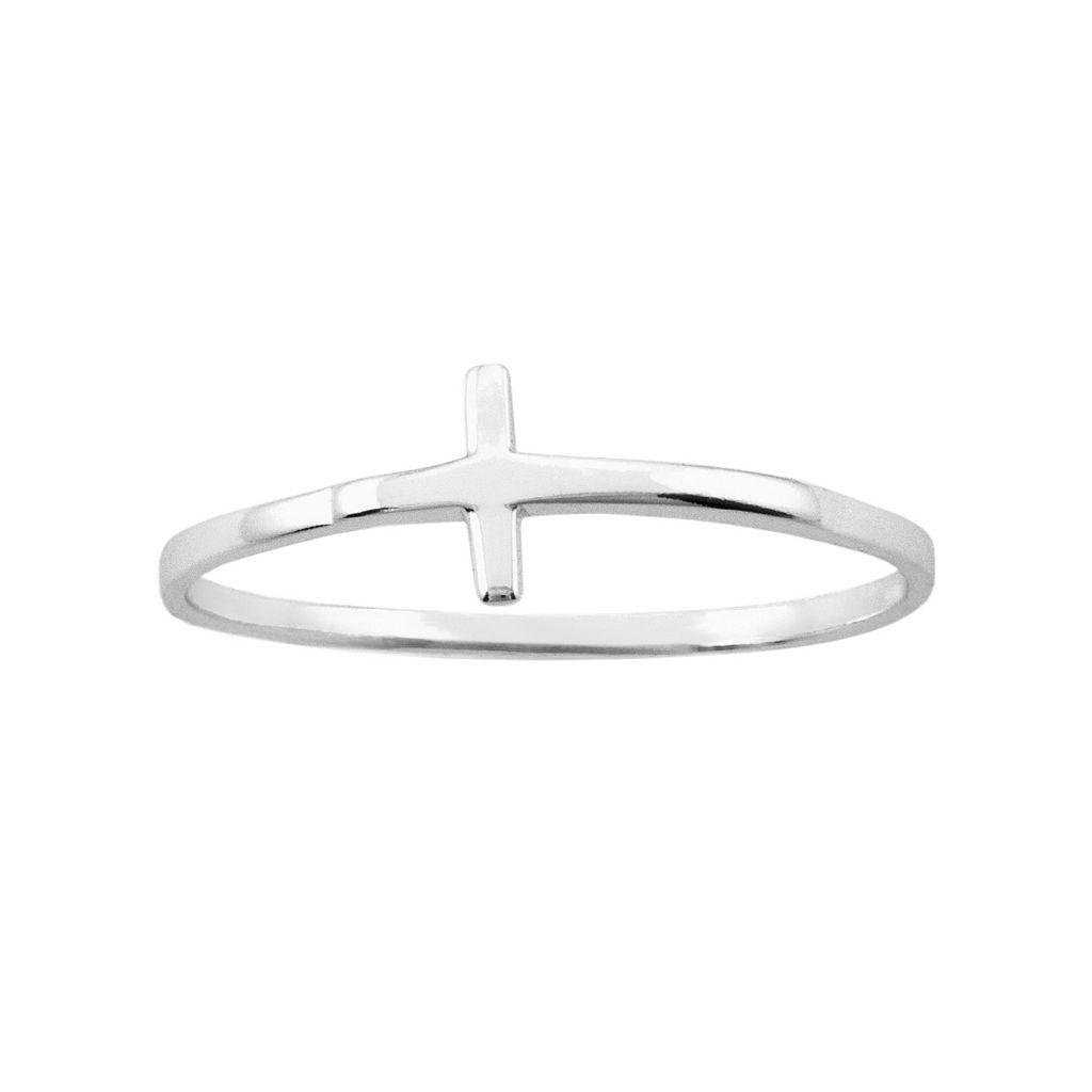 Itsy Bitsy Sterling Silver Sideways Cross Ring