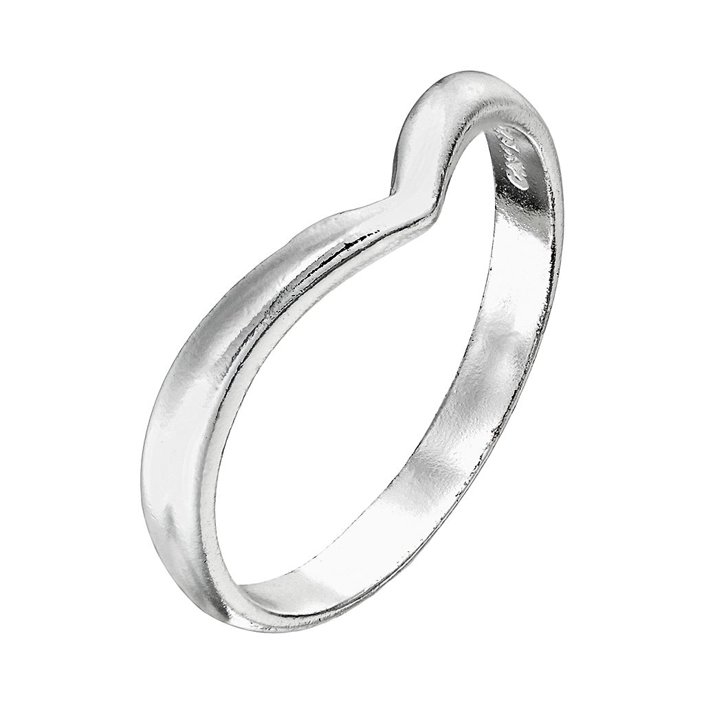 Itsy Bitsy Sterling Silver Chevron Pinky Ring