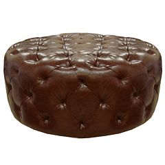 Armen Living Divona Faux-Leather Ottoman