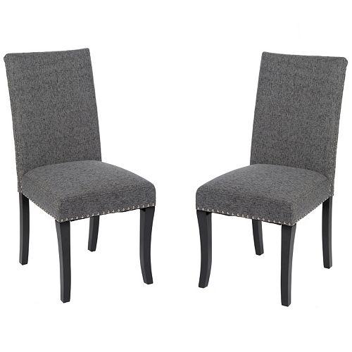 Armen Living Nailhead Dining Chair 2-piece Set