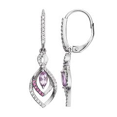 Sterling Silver Amethyst & Cubic Zirconia Marquise Drop Earrings
