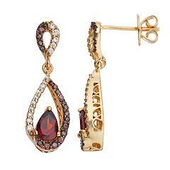 14k Gold Over Silver Garnet & Cubic Zirconia Teardrop Earrings