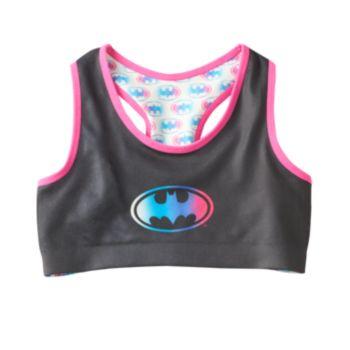 Girls 6-16 DC Comics Batgirl Reversible Raceback Logo Bra