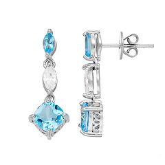 Sterling Silver Blue Topaz & Cubic Zirconia Linear Drop Earrings