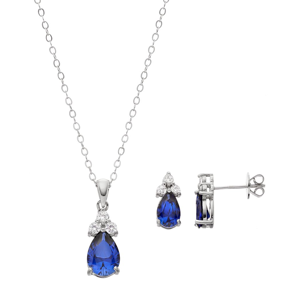Sterling Silver Simulated Sapphire & Cubic Zirconia Teardrop Pendant & Earring Set