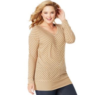 Plus Size Just My Size  Blocked Woven Trim Tunic