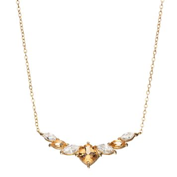 14k Gold Over Silver Citrine & Cubic Zirconia Statement Necklace