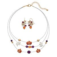 Pumpkin & Skeleton Multi Strand Necklace & Beaded Drop Earring Set