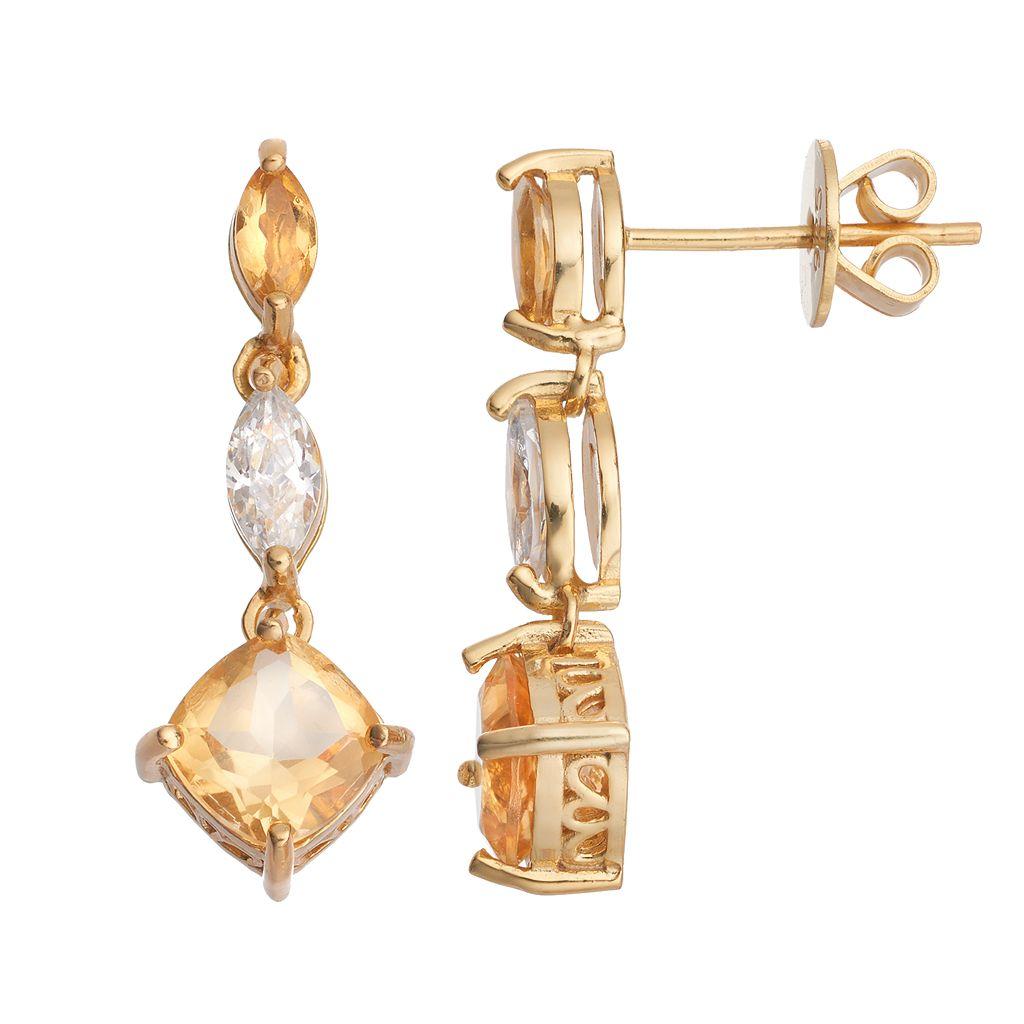 14k Gold Over Silver Citrine & Cubic Zirconia Linear Drop Earrings