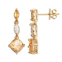 14k Gold Over Silver Citrine & Cubic Zirconia Linear Drop Earrings