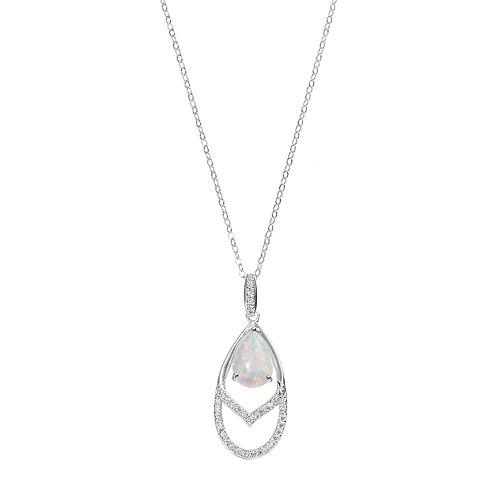 Sterling Silver Simulated Opal & Cubic Zirconia Teardrop Pendant