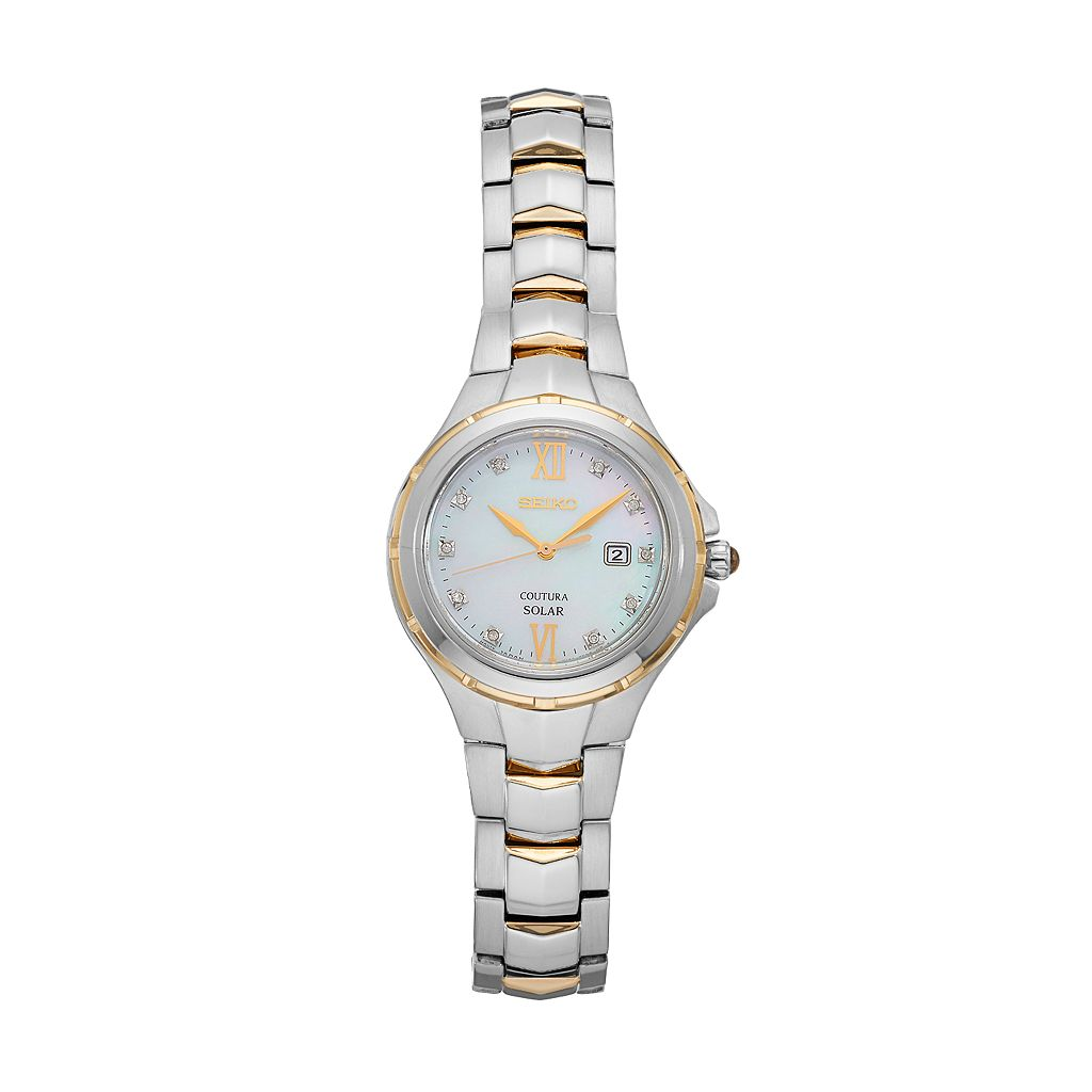 Seiko Women's Coutura Diamond Stainless Steel Solar Watch