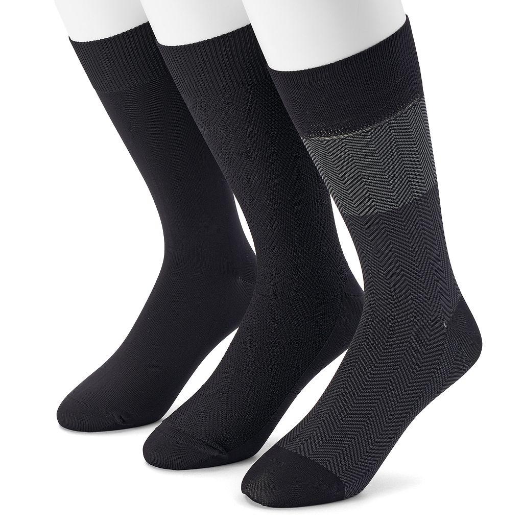 Men's Marc Anthony 3-pack Herringbone Microfiber Dress Socks