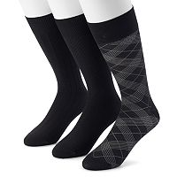 Men's Marc Anthony 3-pack Textured & Patterned Microfiber Dress Socks