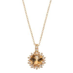 14k Gold Over Silver Citrine & Cubic Zirconia Sunburst Pendant Necklace