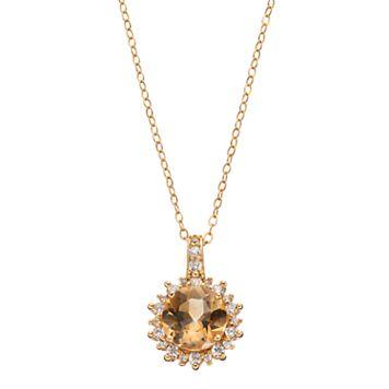 14k Gold Over Silver Citrine & Cubic Zirconia Sunburst Pendant Necklace