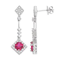 Sterling Silver Lab-Created Ruby & Cubic Zirconia Linear Drop Earrings