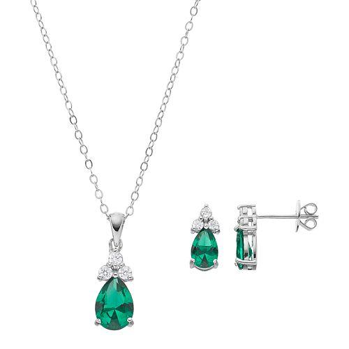 Sterling Silver Simulated Emerald & Cubic Zirconia Teardrop Pendant & Earring Set