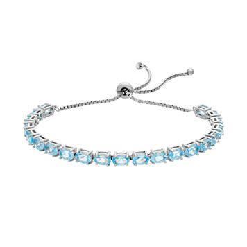 Sterling Silver Blue Topaz Bolo Bracelet
