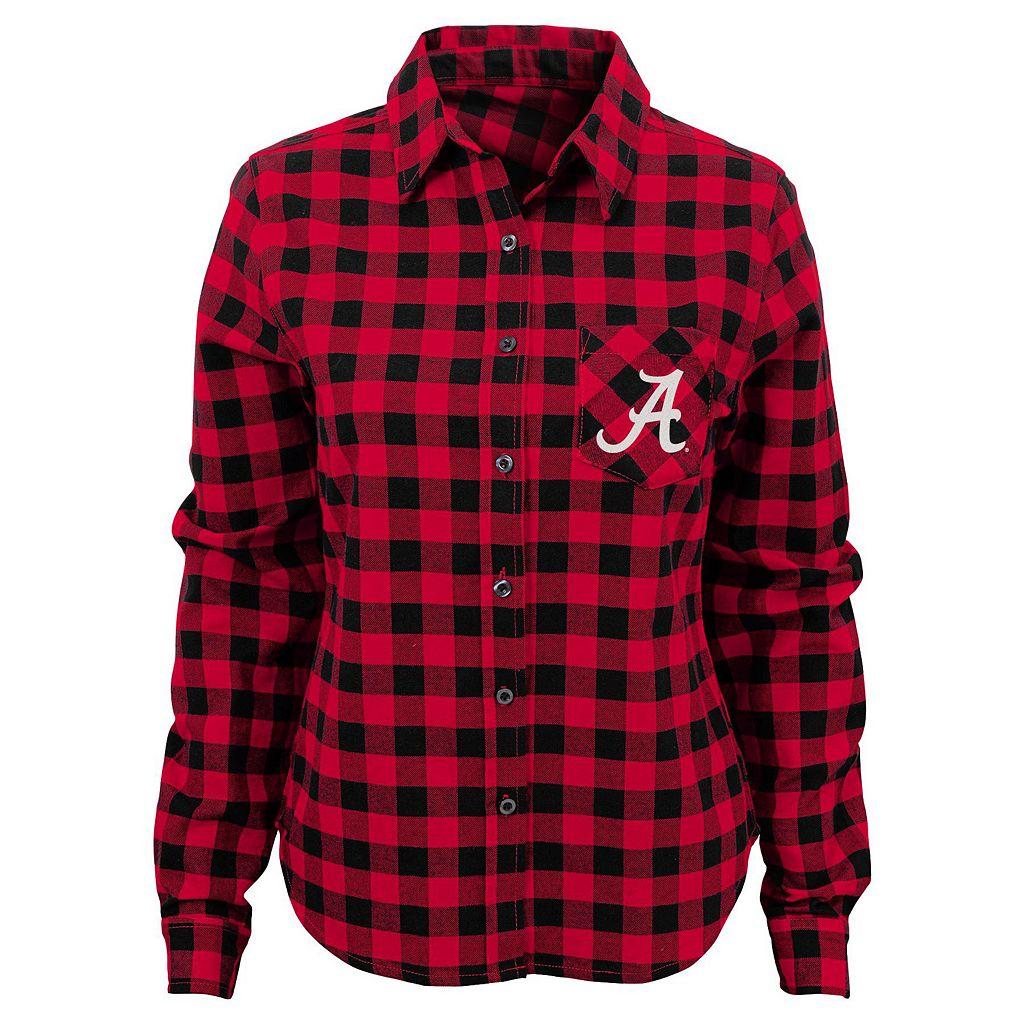 Juniors' Alabama Crimson Tide Buffalo Plaid Flannel Shirt