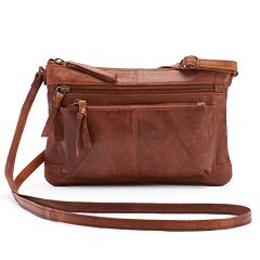 R&R Leather Zip Front Crossbody Bag
