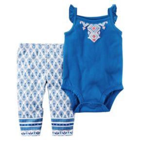 Baby Girl Carter's Ruffle Bodysuit & Tile-Print Pants Set