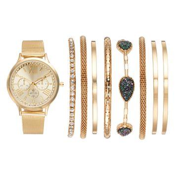 Women's Crystal Mesh Watch & Bracelet Set