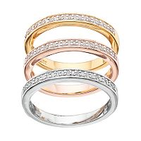 Tri-Tone Sterling Silver 1/4 Carat T.W. Diamond Stack Ring Set