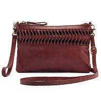 R&R Leather Ruffled Crossbody Bag