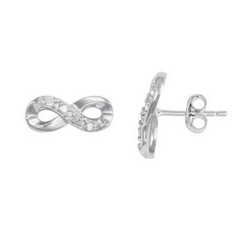 Itsy Bitsy Sterling Silver 1/10 Carat T.W. Diamond Infinity Stud Earrings