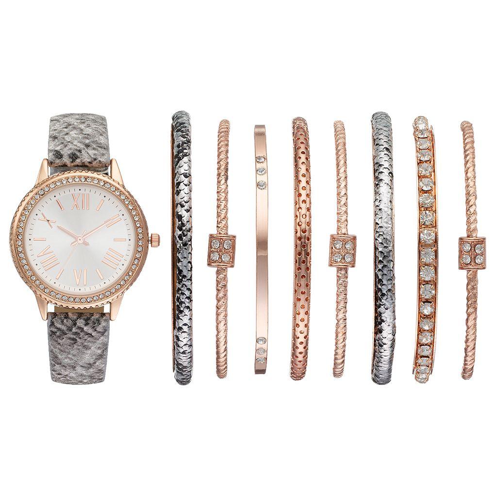 Women's Crystal Snakeskin Watch & Bangle Bracelet Set