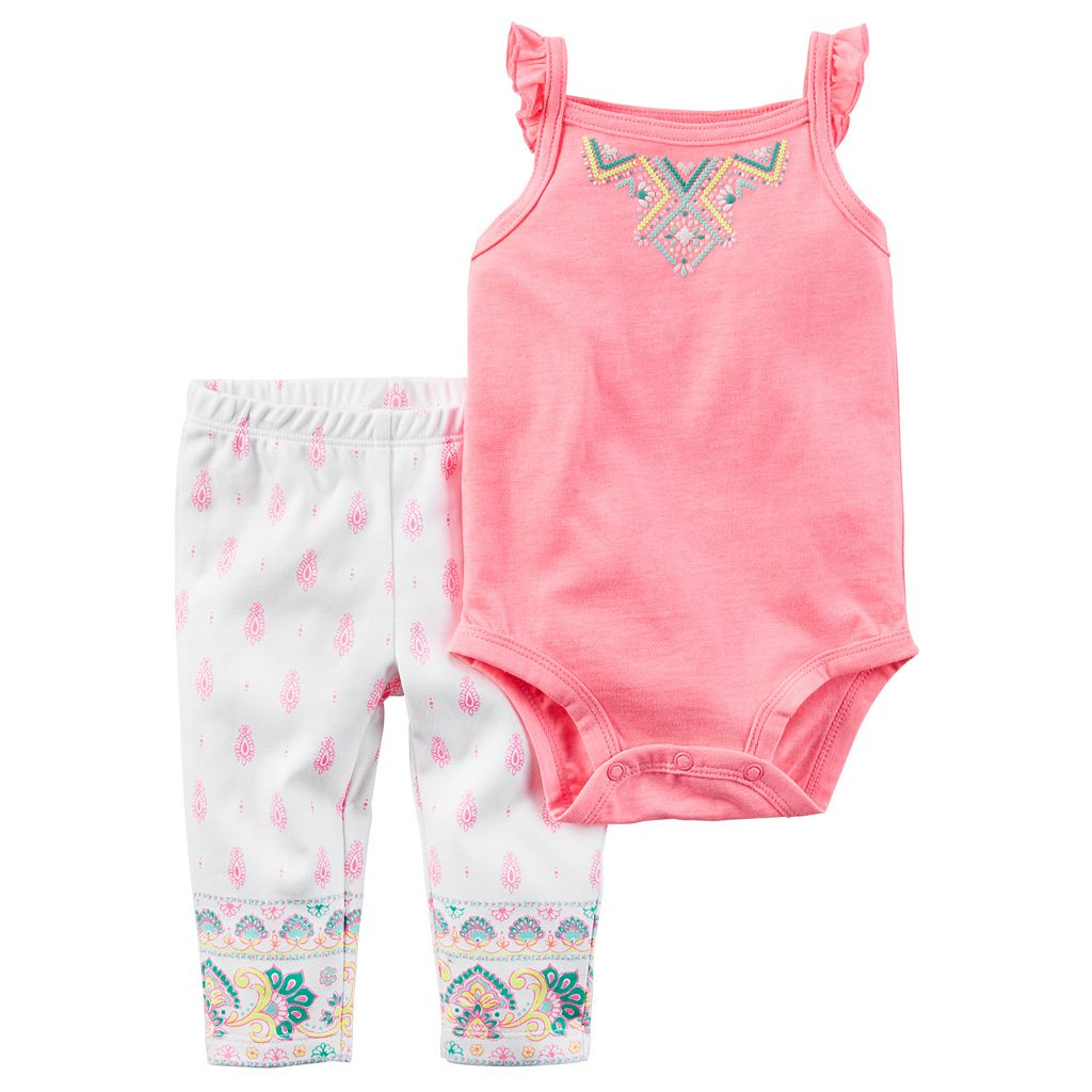 Baby Girl Carter's Ruffle Bodysuit & Paisley Pants Set