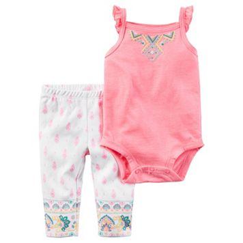 Baby Girl Carter's Ruffle Bodysuit & Paisley Pants Set