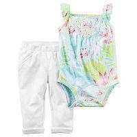 Baby Girl Carter's Palm-Leaf Crochet Bodysuit & Pleated Pants Set