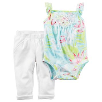 Baby Girl Carter's Palm-Leaf Crochet Bodysuit & Pleated Pants Set