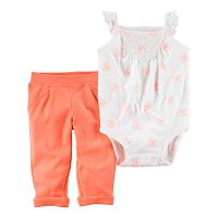 Baby Girl Carter's Floral Crochet Bodysuit & Pleated Pants Set