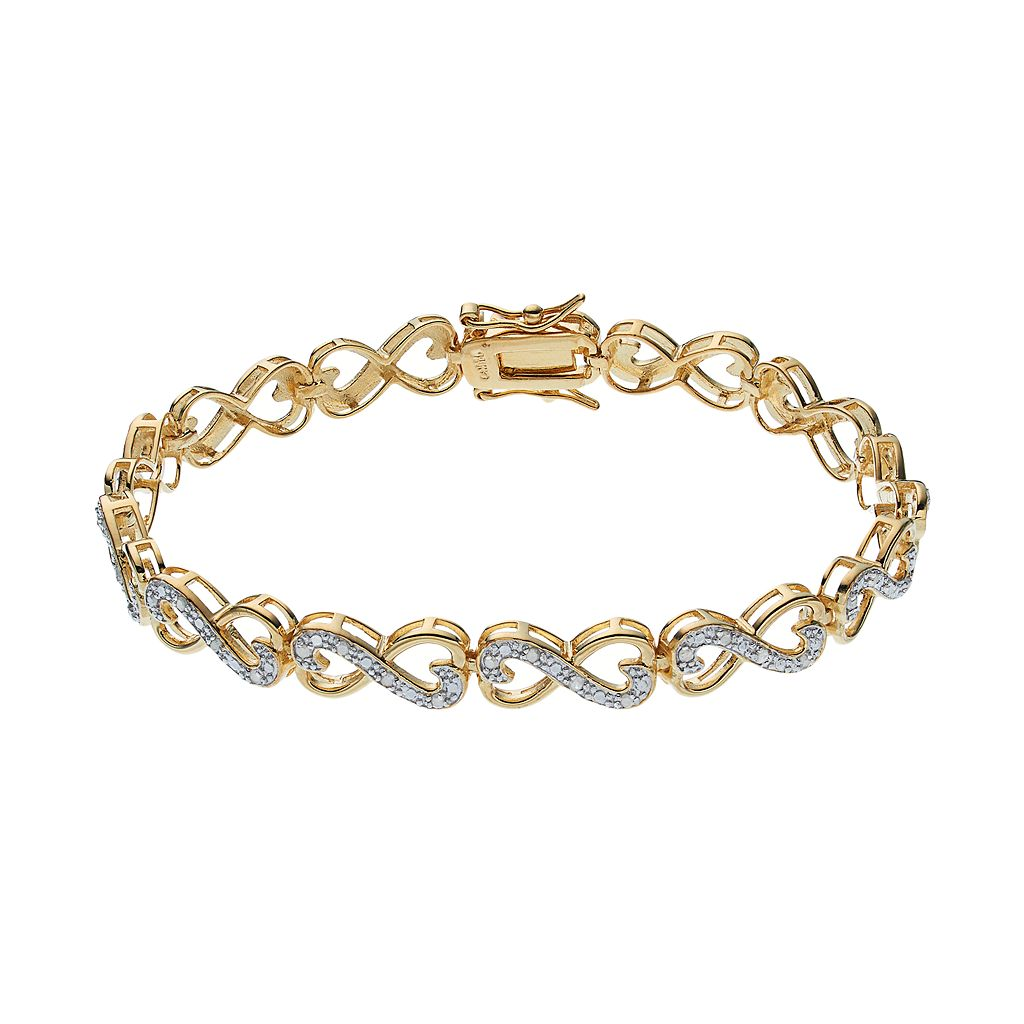 18k Gold Over Silver 1/4 Carat T.W. Diamond Heart Infinity Bracelet
