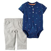 Baby Boy Carter's Shark & Palm Tree Bodysuit & French Terry Pants Set