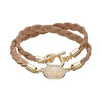 LC Lauren Conrad Braided Faux Suede Toggle Wrap Bracelet
