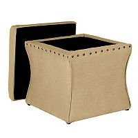 HomePop Curved Nailhead Storage Ottoman