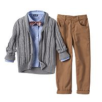 Toddler Boy Baby Boyz Cable Knit Shawl Cardigan, Shirt & Pants Set with Bow Tie