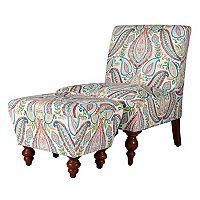 HomePop Paisley Accent Chair & Ottoman 2 pc Set