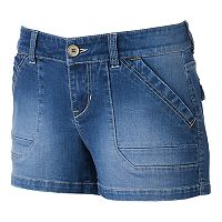 Juniors' Unionbay 2-Button Denim Shortie Shorts